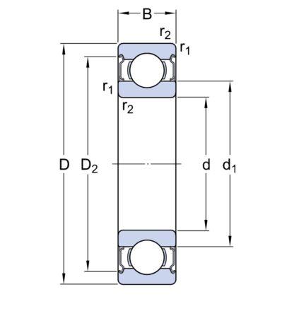 Однорядный шариковый подшипник 6310 2Z/C4