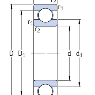 Однорядный шариковый подшипник 6314 CM