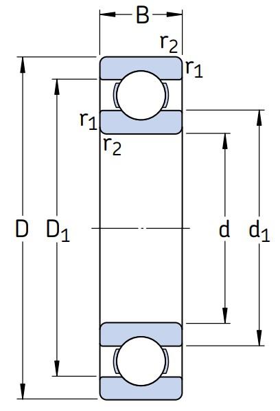 Однорядный шариковый подшипник 6222 M/C3