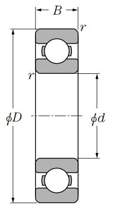 Однорядный шариковый подшипник 6038