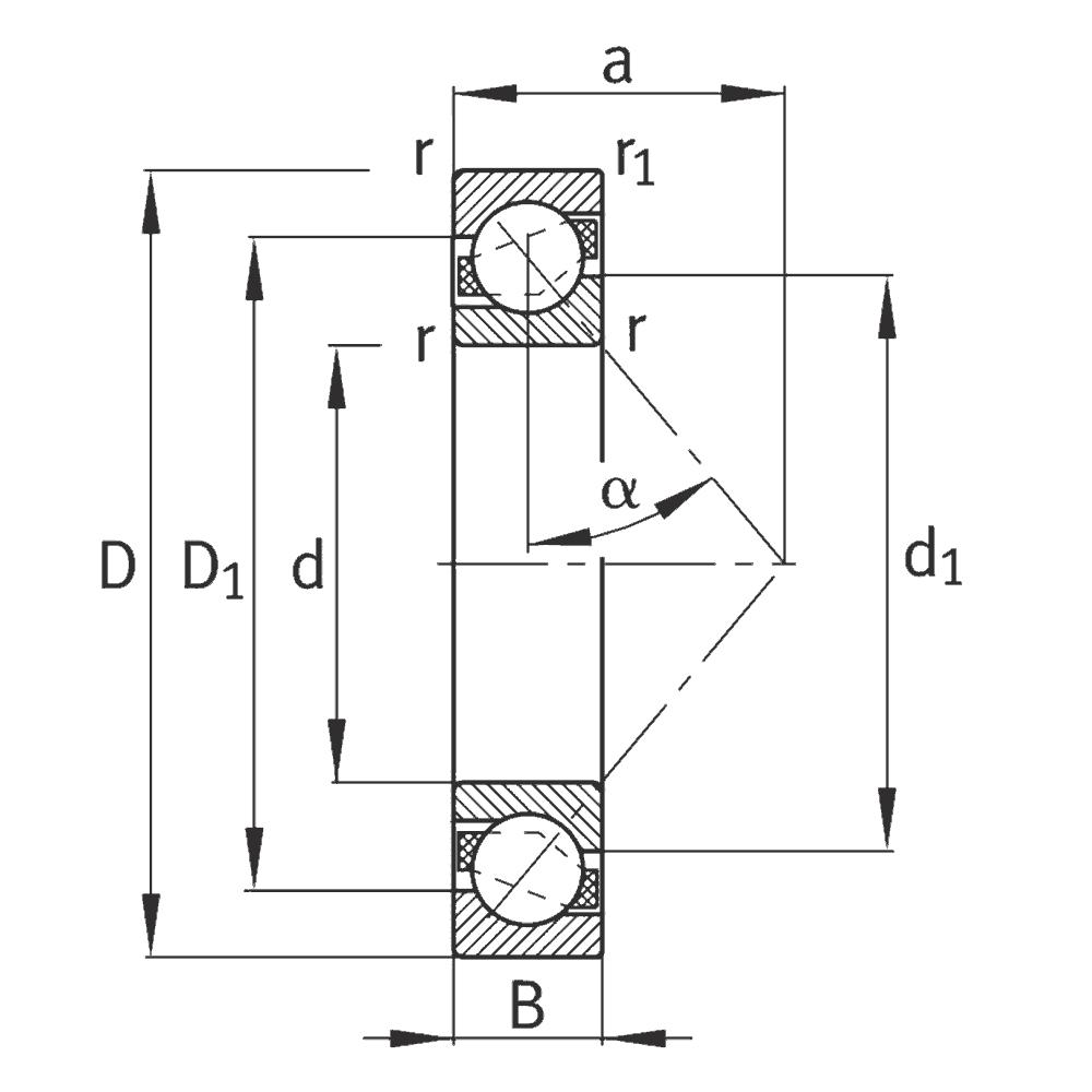 Однорядный шариковый подшипник 7307-B-XL-JP-UA