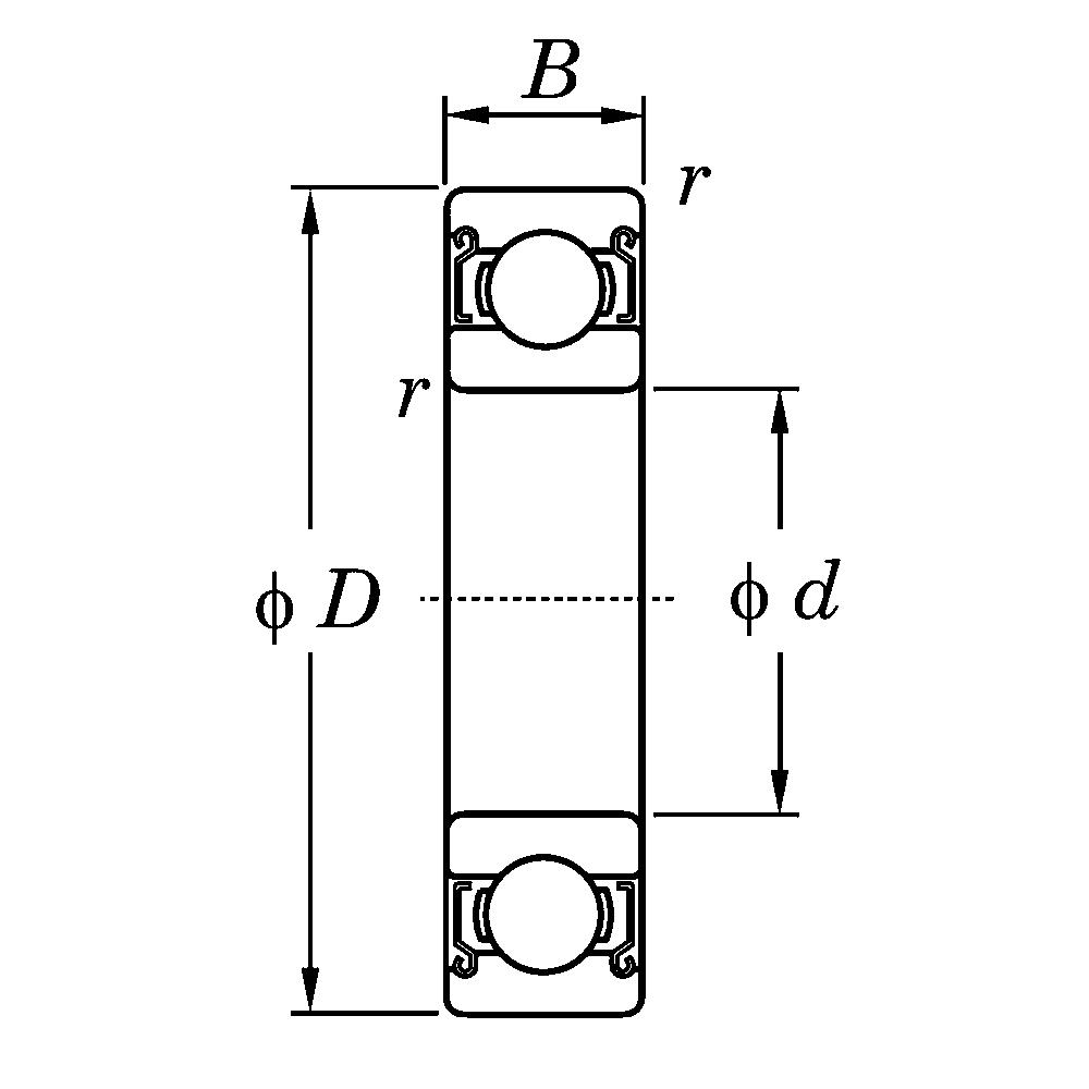 Дюймовые подшипники типа R KLNJ1/2-2RZ R 8 ZZ