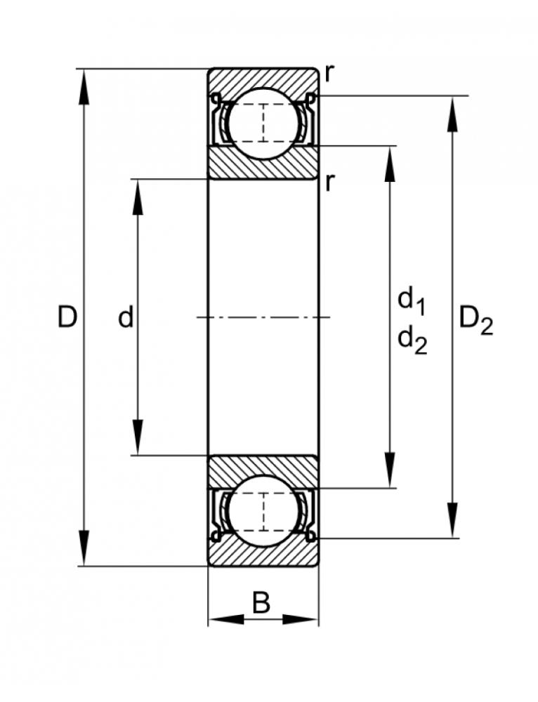 Однорядный шариковый подшипник W 61805 2RS1