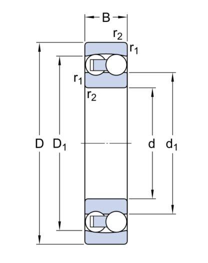 Двухрядный шариковый подшипник 2211 EKTN9/C3