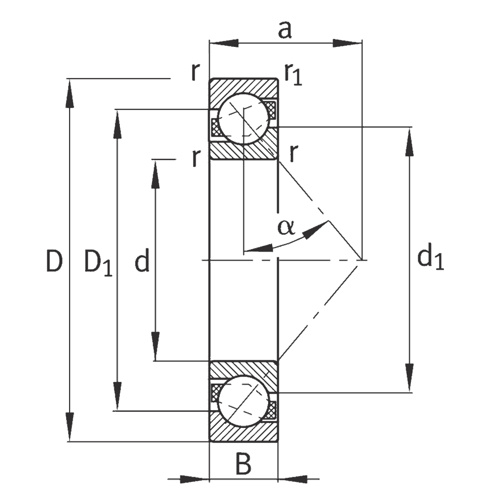 Радиально-упорный шариковый подшипник 7224 B-XL-MP-UA