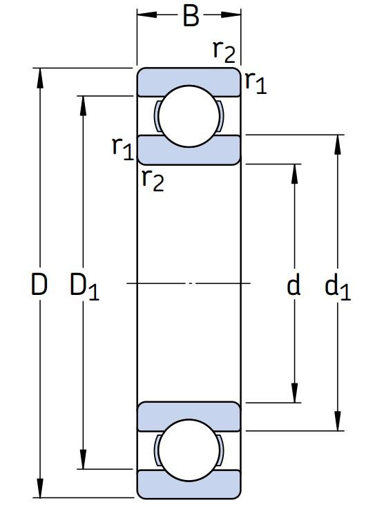 Однорядный шариковый подшипник 61844/C3