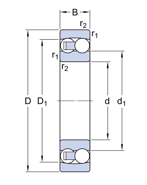 Двухрядный шариковый подшипник 2316 KM/C3