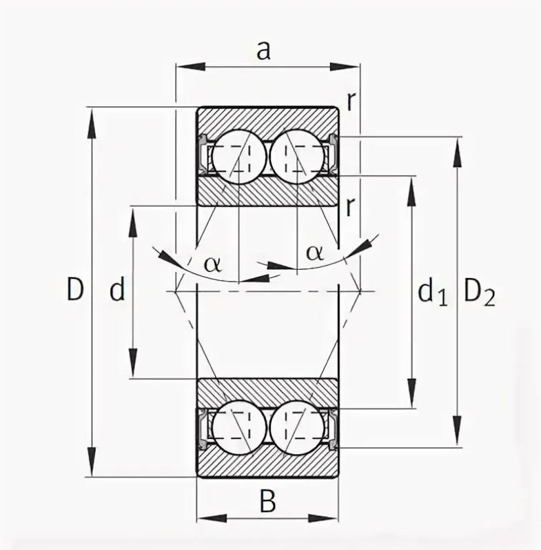Радиально-упорный двухрядный шариковый подшипник 3056213 2RS 3213 A2RSTN