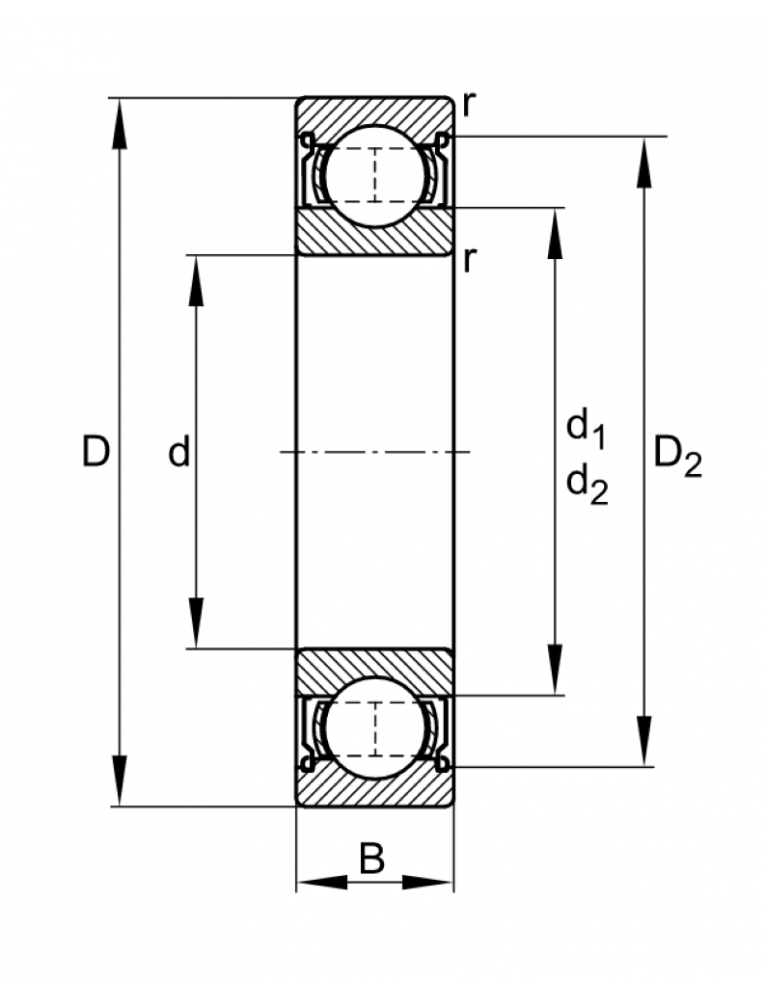 Однорядный шариковый подшипник W 61908-2RS1