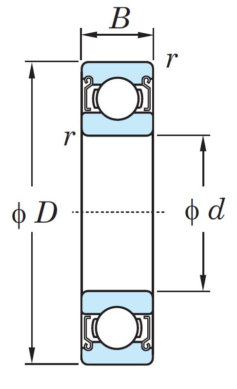 Однорядный шариковый подшипник 6408 ZZ/2AS