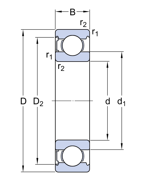 Однорядный шариковый подшипник 6309 Z/C5