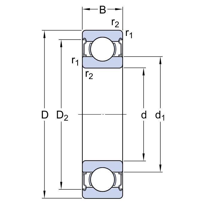 Однорядный шариковый подшипник 6309 2Z/C5