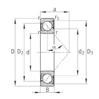 Однорядный шариковый подшипник 7305 B 2RS TVP