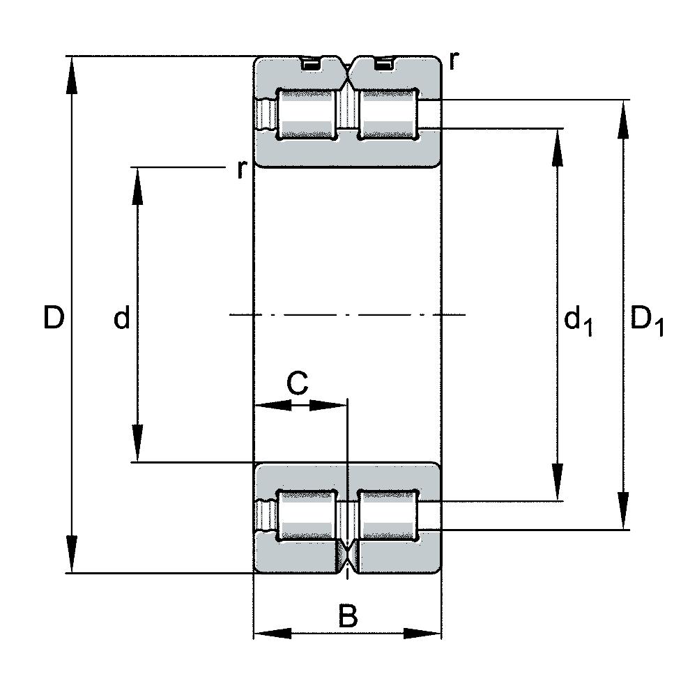 Двухрядный роликовый подшипник SL01 4936 A