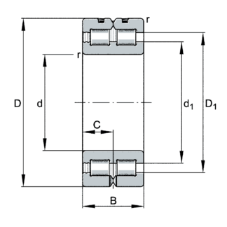 Двухрядный роликовый подшипник SL01 4924 A